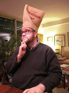 Scott wearing an impromptu chef's hat.